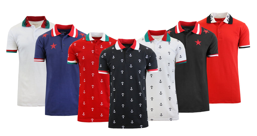 Daily Steals-Short Sleeve Printed Polo Shirt for Men-Men's Apparel-