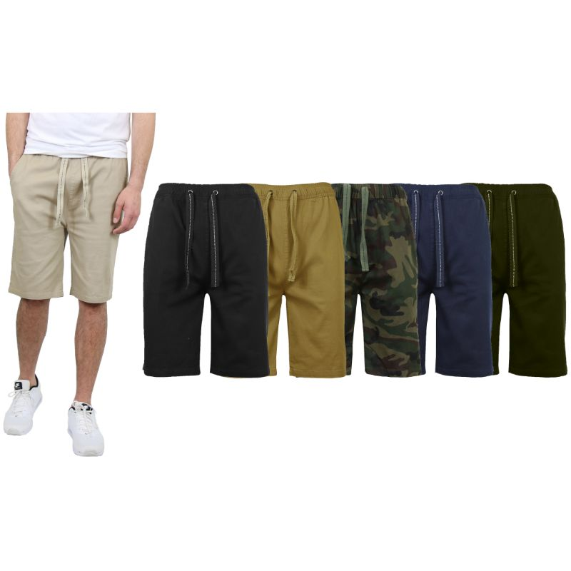 Men's Cotton Stretch Twill Jogger Shorts-Daily Steals