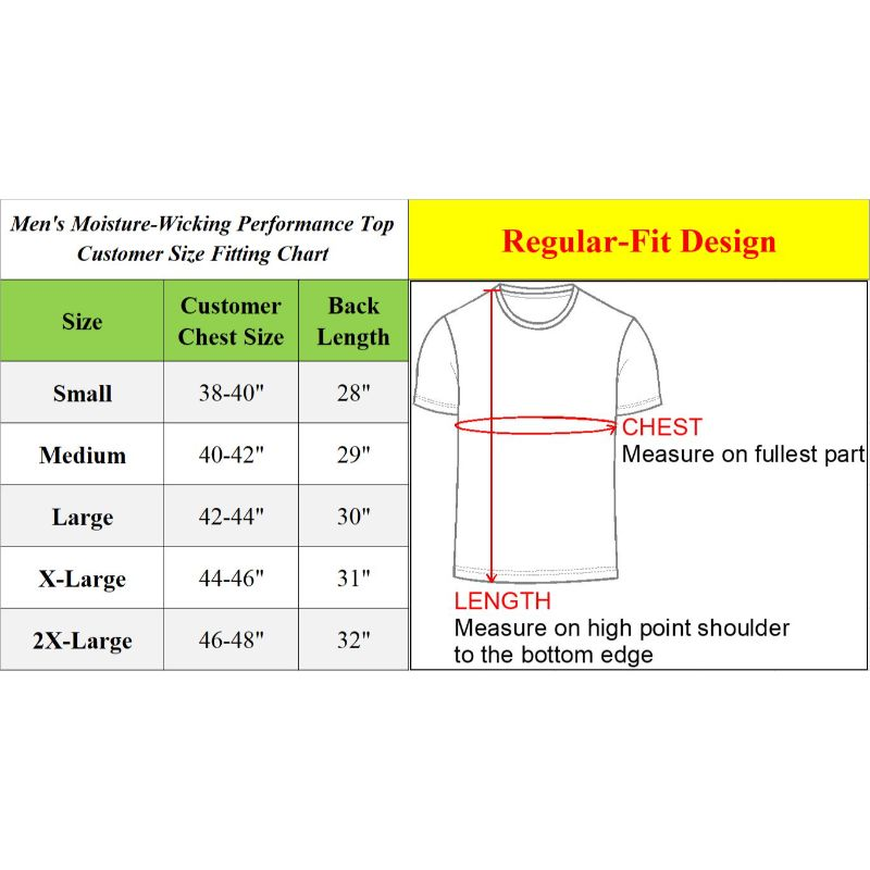 Assorted Men's Moisture Wicking Wrinkle Free Performance Short Sleeve Tee - 6 Pack