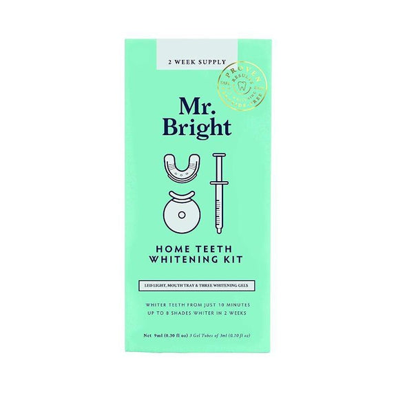 Mr. Bright 2 Week Supply Home Teeth Whitening Included-Regular (LED Light & 3x Gels)-