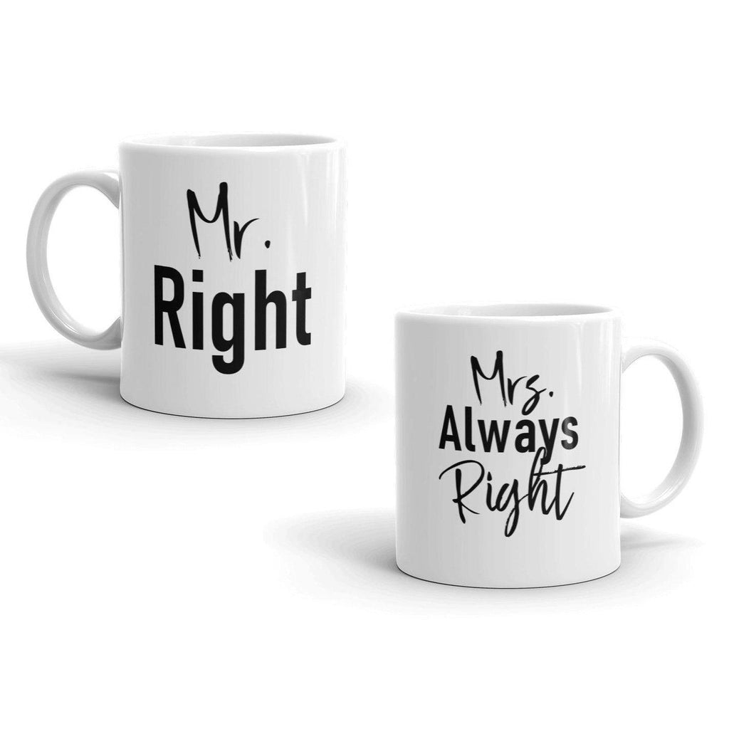 Daily Steals-Mr. Right Mrs. Always Right Matching Couples Valentine's Day 11 Ounce Coffee Mugs-Kitchen-