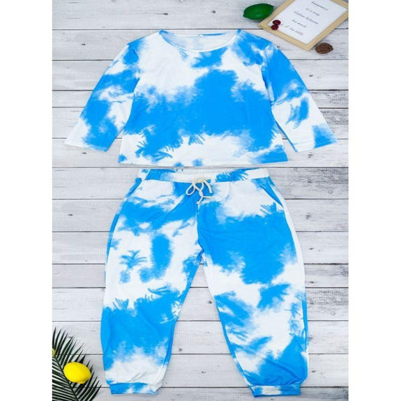 Womens Tie Dye Sweatsuit-Blue-L-Daily Steals