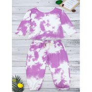 Womens Tie Dye Sweatsuit-Purple-M-Daily Steals