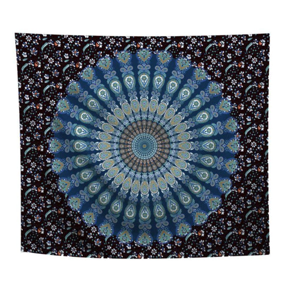 "Boho Mandala Wall Art Hanging - 60"" x 51""-Dark Blue-Daily Steals"