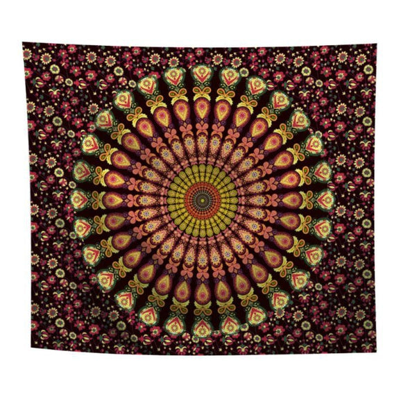 "Boho Mandala Wall Art Hanging - 60"" x 51""-Black & Yellow-Daily Steals"