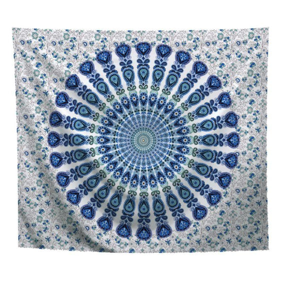 "Boho Mandala Wall Art Hanging - 60"" x 51""-Light Blue-Daily Steals"