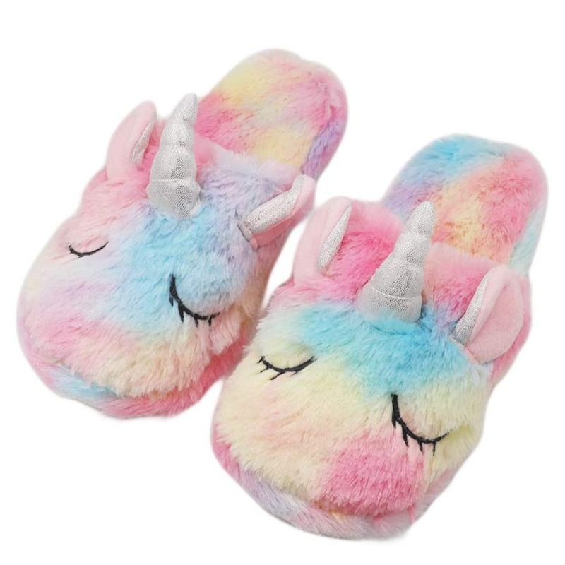 Unicorn Plush Slippers and Eye Mask Set