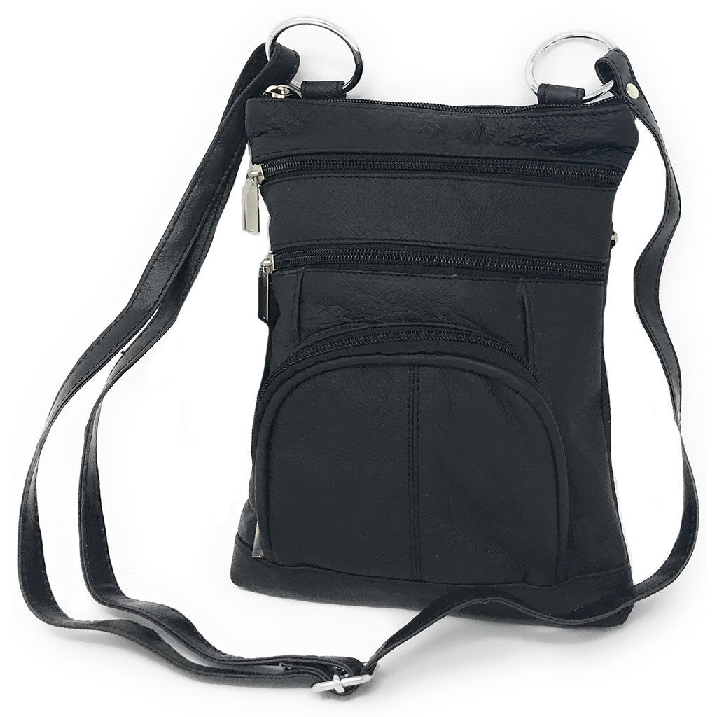 Genuine Leather Cross-Body Messenger Bag Purse-Black-Daily Steals