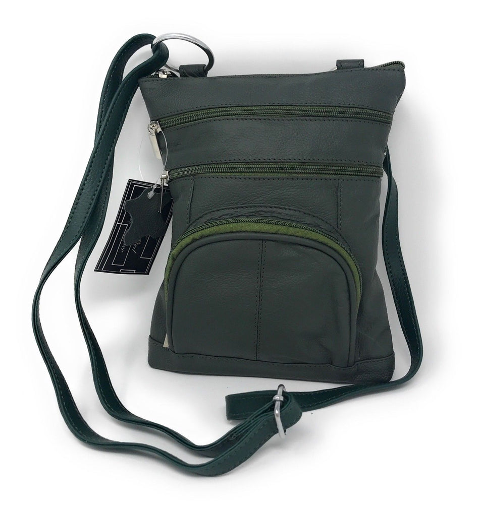 Genuine Leather Cross-Body Messenger Bag Purse-Green-Daily Steals