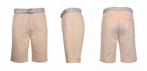 Mens Slim Fit Cotton Belted Shorts