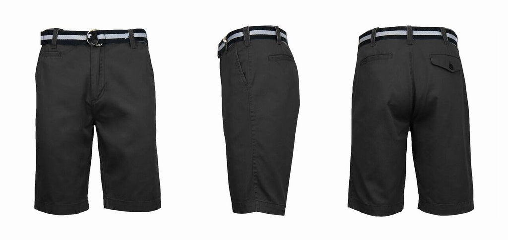 Men's Slim Fit Cotton Belted Shorts-Black-30-Daily Steals