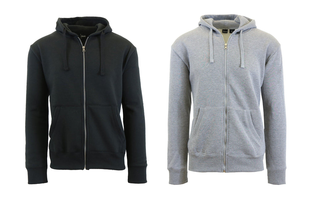Mens Fleece Hoodie with Thermal-Lined Hood - 2 Pack-Black-Heather Grey-Small-Daily Steals