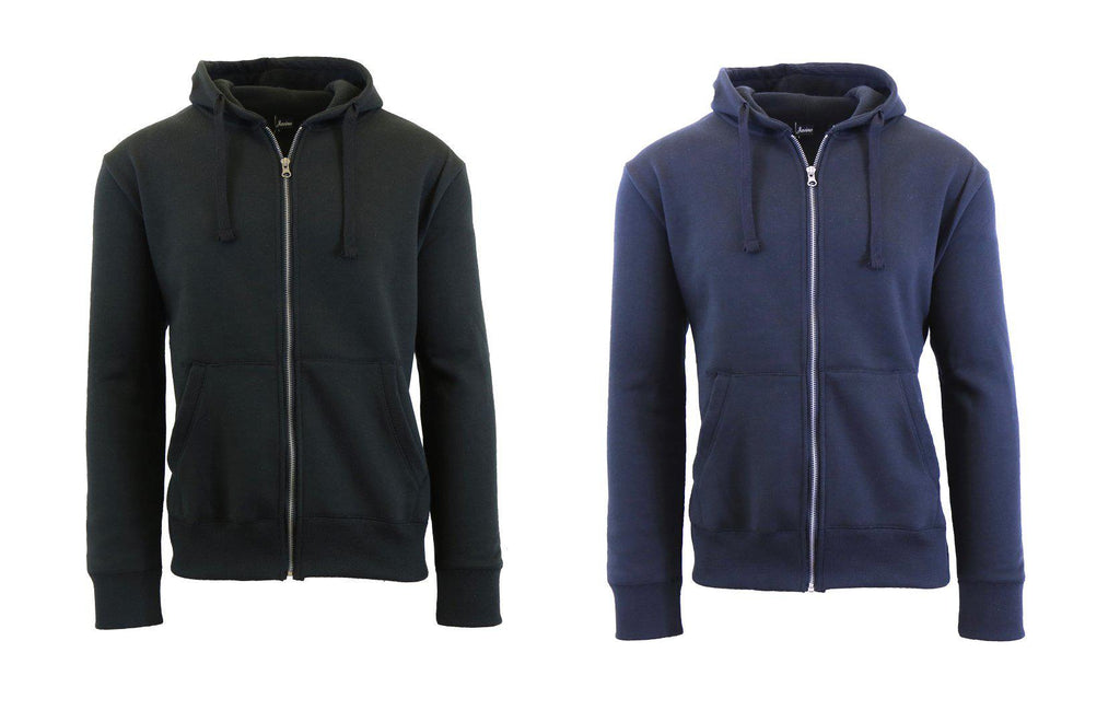 Mens Fleece Hoodie with Thermal-Lined Hood - 2 Pack-Black-Navy-Small-Daily Steals