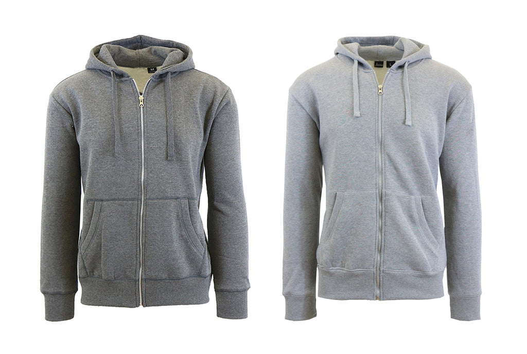 Mens Fleece Hoodie with Thermal-Lined Hood - 2 Pack-Charcoal-Heather Grey-Small-Daily Steals