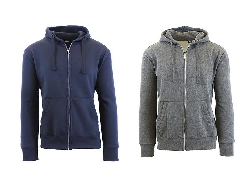 Mens Fleece Hoodie with Thermal-Lined Hood - 2 Pack-Navy-Charcoal-Small-Daily Steals