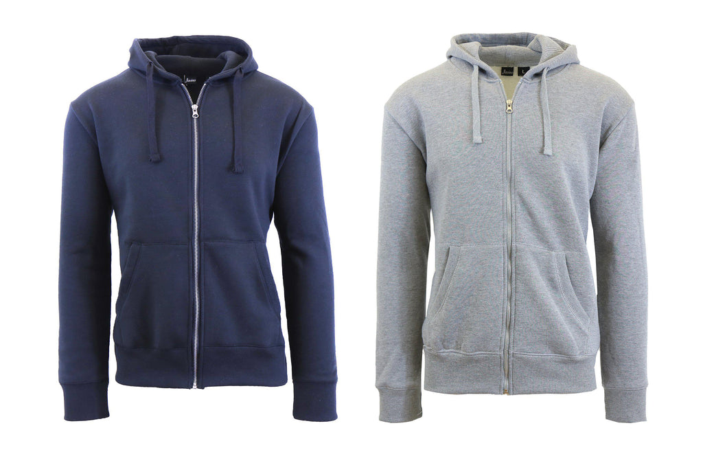 Mens Fleece Hoodie with Thermal-Lined Hood - 2 Pack-Navy-Heather Grey-Small-Daily Steals