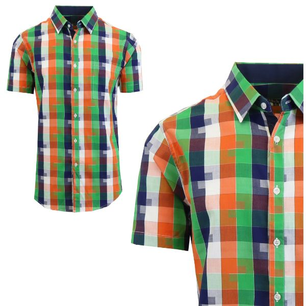 Mens Slim Fit Short Sleeve Shirt-Green/Blue-Small-Daily Steals