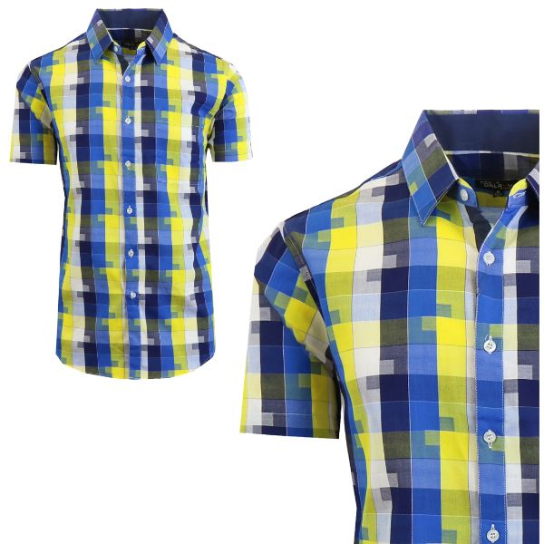 Mens Slim Fit Short Sleeve Shirt-Navy/Blue-Small-Daily Steals