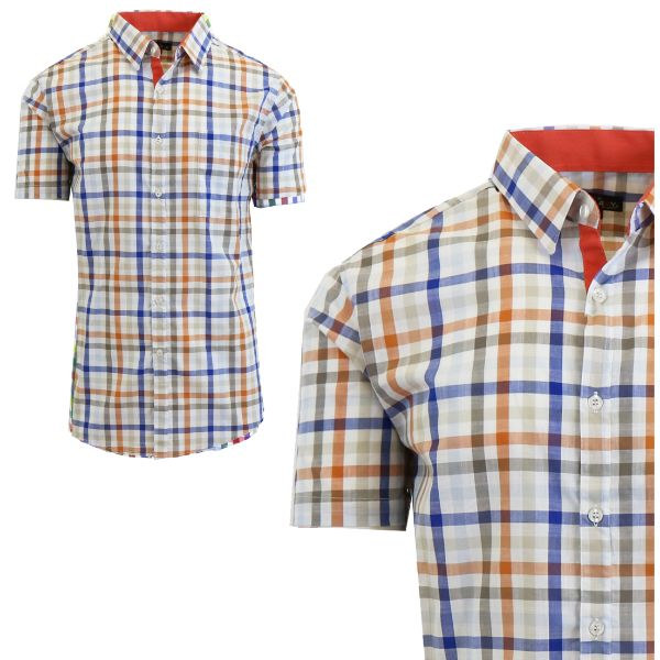 Mens Slim Fit Short Sleeve Shirt-Orange/Blue-Small-Daily Steals