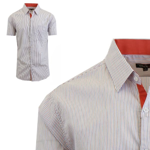 Mens Slim Fit Short Sleeve Shirt-Blue/Red-Small-Daily Steals