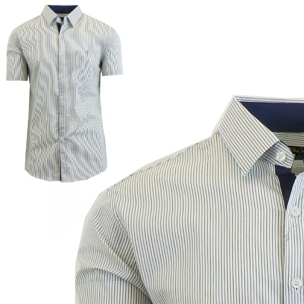 Mens Slim Fit Short Sleeve Shirt-Green/Navy-Small-Daily Steals