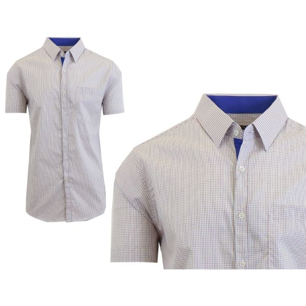 Mens Slim Fit Short Sleeve Shirt-Navy/Red Pastel-Small-Daily Steals