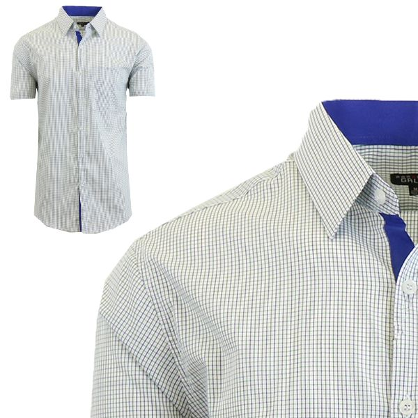 Mens Slim Fit Short Sleeve Shirt-Green/Royal-Small-Daily Steals