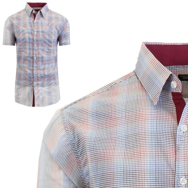 Mens Slim Fit Short Sleeve Shirt-Blue/Burgundy-Small-Daily Steals