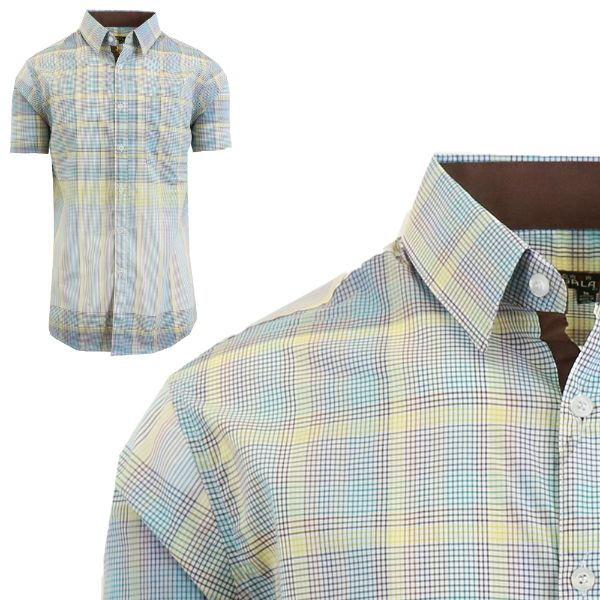 Mens Slim Fit Short Sleeve Shirt-Blue/Yellow-Small-Daily Steals