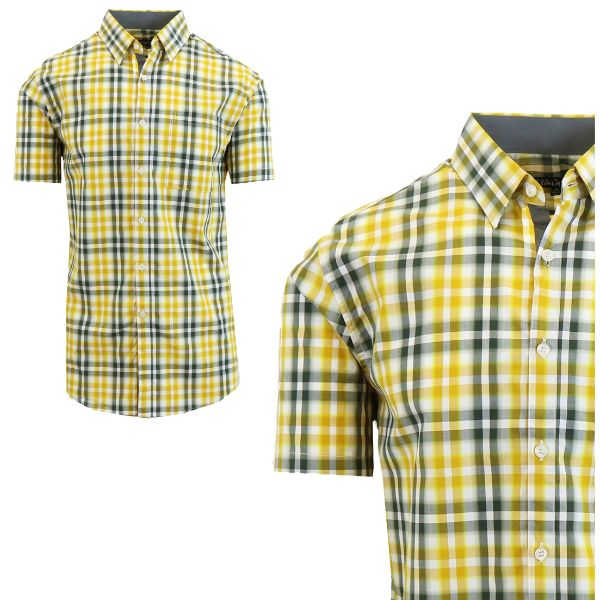 Mens Slim Fit Short Sleeve Shirt-Yellow/Grey-Small-Daily Steals