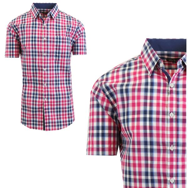 Chemise à manches courtes Slim Fit pour homme-Violet / Marine Bold-Small-Daily Steals