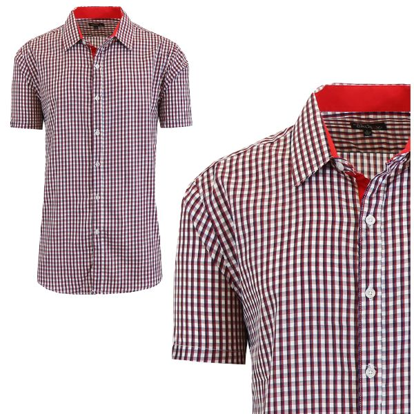 Mens Slim Fit Short Sleeve Shirt-Red/Black-Large-Daily Steals