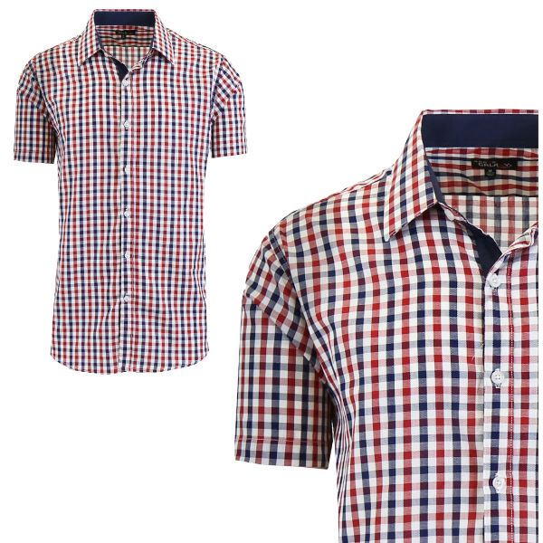 Mens Slim Fit Short Sleeve Shirt-Navy/Red-Medium-Daily Steals