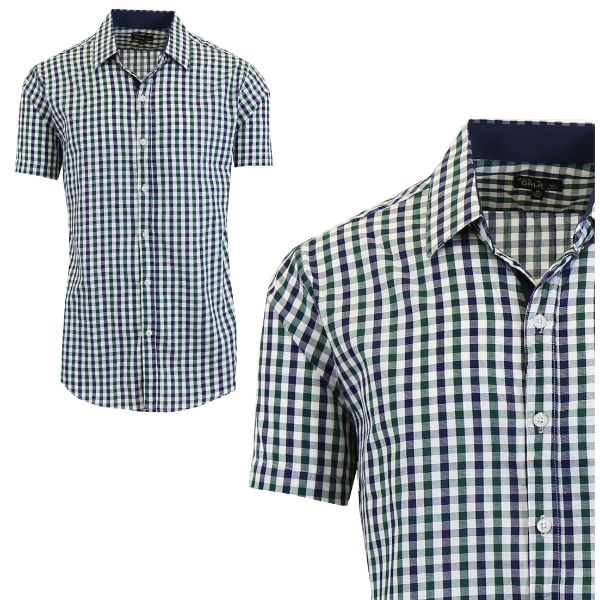 Mens Slim Fit Short Sleeve Shirt-Green/Black-Small-Daily Steals
