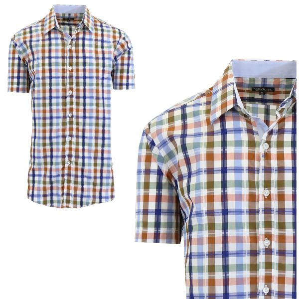 Mens Slim Fit Short Sleeve Shirt-Brown/Blue-Medium-Daily Steals