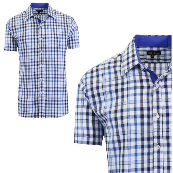 Mens Slim Fit Short Sleeve Shirt-Blue/Black-Medium-Daily Steals