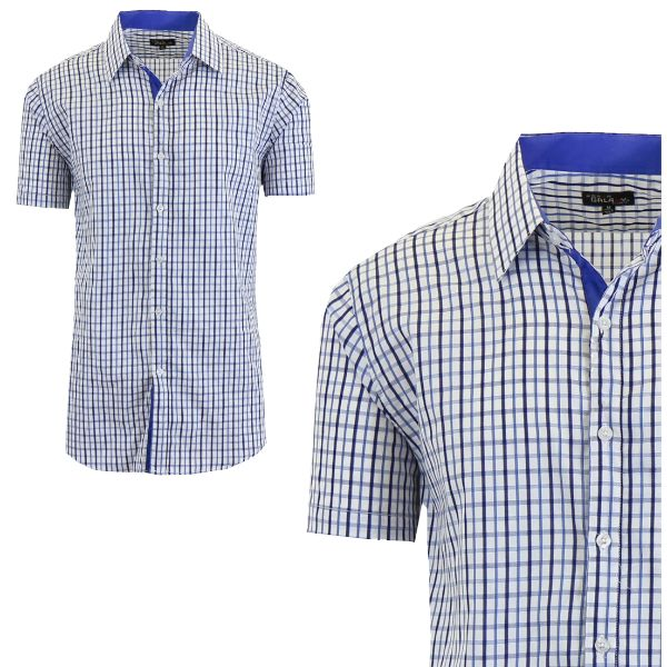 Mens Slim Fit Short Sleeve Shirt-Navy/Royal-Large-Daily Steals