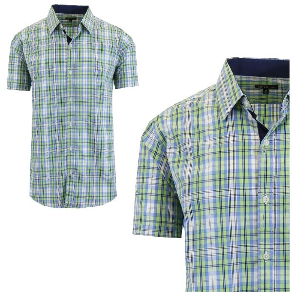 Mens Slim Fit Short Sleeve Shirt-Mint/Light Blue-Medium-Daily Steals