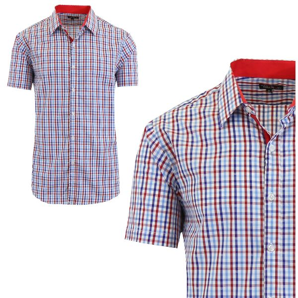 Mens Slim Fit Short Sleeve Shirt-Red/Blue-Small-Daily Steals