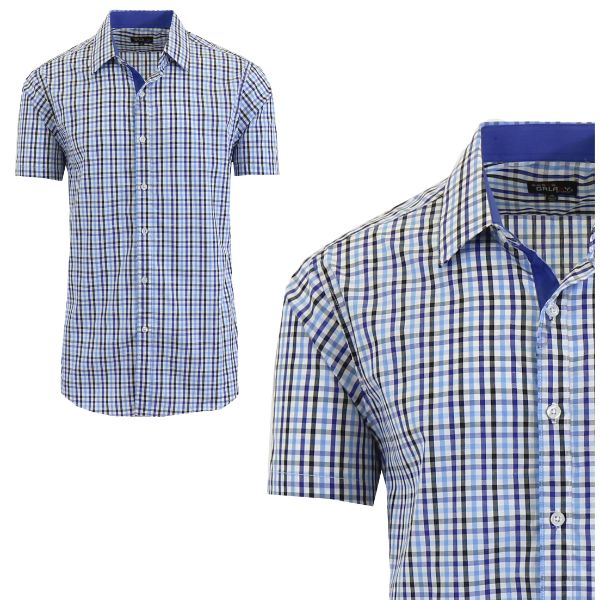 Mens Slim Fit Short Sleeve Shirt-Royal/Light Blue-Small-Daily Steals
