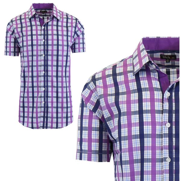 Mens Slim Fit Short Sleeve Shirt-Purple/Navy-Medium-Daily Steals
