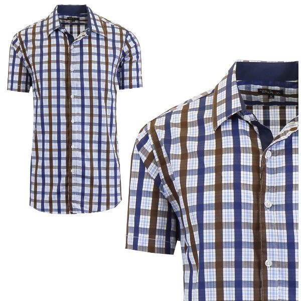 Mens Slim Fit Short Sleeve Shirt-Navy/Brown-Medium-Daily Steals