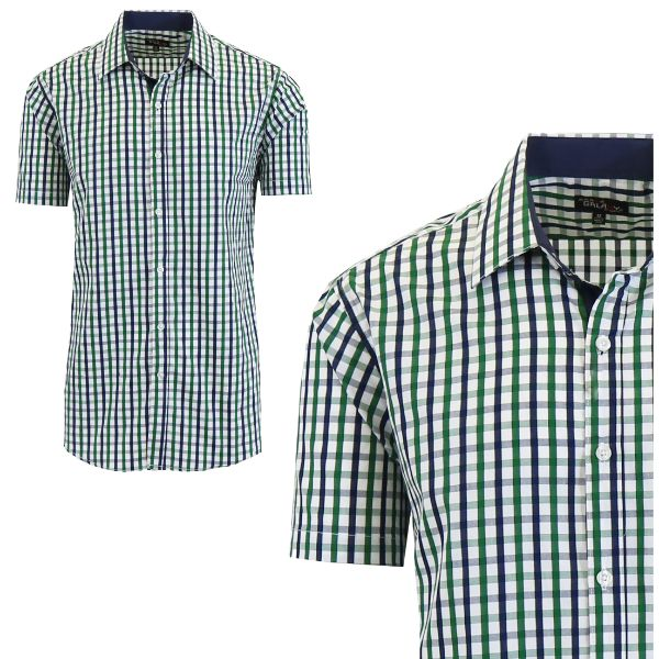 Mens Slim Fit Short Sleeve Shirt-Green/White-Medium-Daily Steals