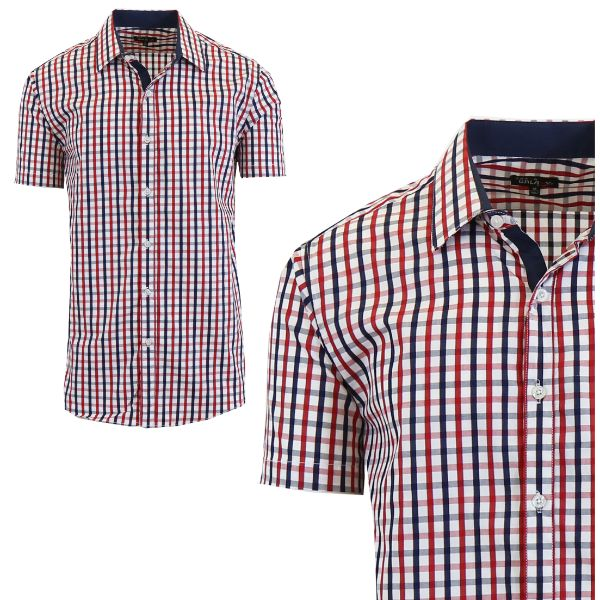 Mens Slim Fit Short Sleeve Shirt-Black/Red-Medium-Daily Steals