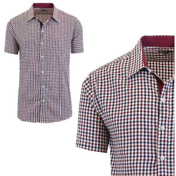 Mens Slim Fit Short Sleeve Shirt-Burgundy/Black-Small-Daily Steals