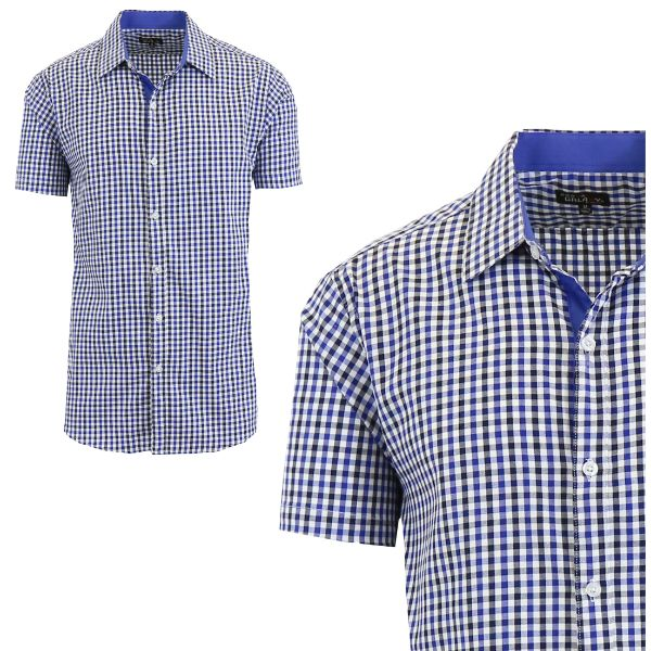 Mens Slim Fit Short Sleeve Shirt-Royal/Black-Small-Daily Steals