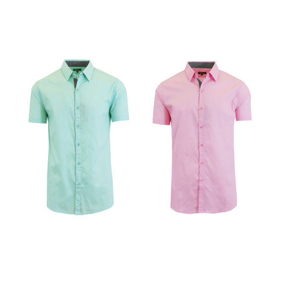 Men's Slim Fit Short Sleeve Button-Down Dress Shirt - 2 Pack-Daily Steals