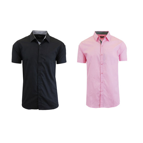 Men's Slim Fit Short Sleeve Button-Down Dress Shirt - 2 Pack-Black-Pink-Small-Daily Steals