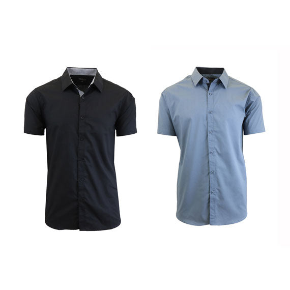 Men's Slim Fit Short Sleeve Button-Down Dress Shirt - 2 Pack-Black-Grey-Large-Daily Steals
