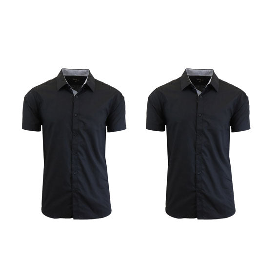 Men's Slim Fit Short Sleeve Button-Down Dress Shirt - 2 Pack-Black-Black-Small-Daily Steals